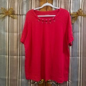 Red Top with laced neckline